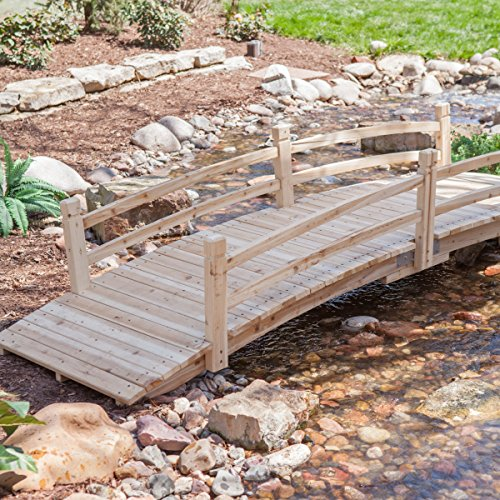 Attractive-Design-Weather-Resistant-10-ft-Wood-Garden-Bridge-with-Rails-Assembly-Required-0