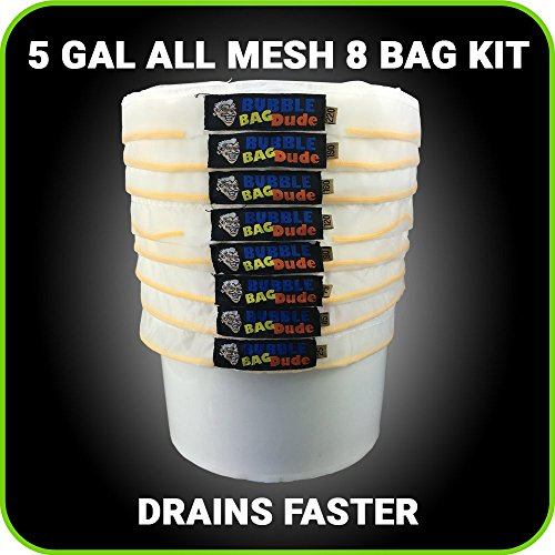 BUBBLEBAGDUDE-All-Mesh-5-Gallon-8-Bag-Herbal-Hash-Ice-Extractor-Kit-Comes-with-Pressing-Screen-and-Storage-Bag-0