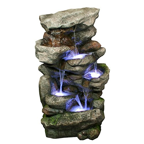 Bear-Creek-Waterfall-Fountain-Towering-Rock-Outdoor-Water-Feature-for-Gardens-Patios-Hand-crafted-Weather-Resistant-Resin-LED-Lights-Pump-Included-0