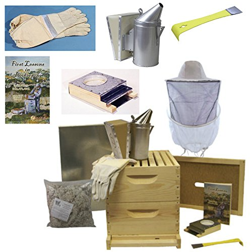 Bee-Hive-8-Frame-Deluxe-Beehive-Starter-Kit-and-Beekeeping-Supplies-Perfect-Hives-for-Beginners-and-Pros-FREE-Lesson-Book-for-New-Beekeepers-Our-Beekeeper-Kits-for-Honey-Bees-are-Easy-to-lift-Wood-Bee-0