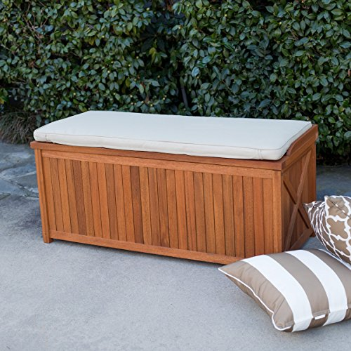 Belham-Living-Brighton-48-in-Outdoor-Storage-Deck-Box-with-Cushion-Natural-Durable-and-Comfortable-100-Polyester-Khaki-Cushion-0