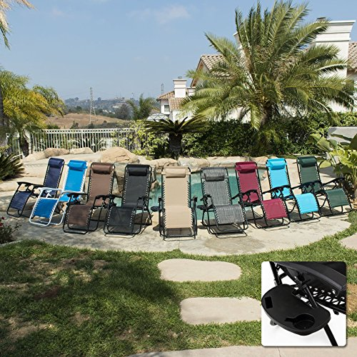 Belleze Pack Zero Gravity Patio Lounge Chairscup Holder Utility Tray on Zero Gravity Lounge Chair Parts