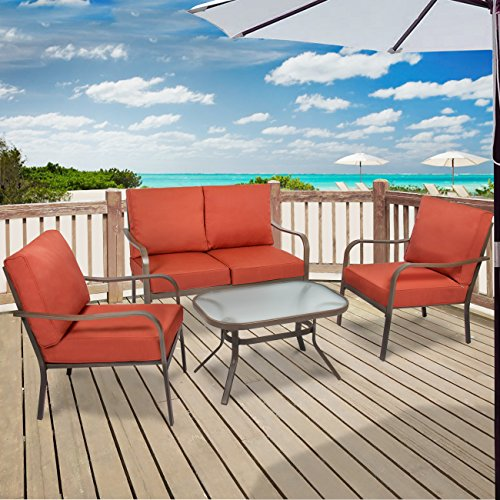 Best-Choice-Products-4-Piece-Cushioned-Patio-Furniture-Set-W-Loveseat-2-Chairs-Coffee-Table-Red-0