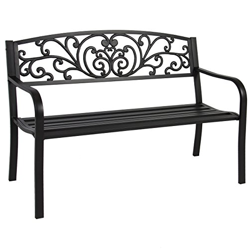 Best-Choice-Products-50-Patio-Garden-Bench-Park-Yard-Outdoor-Furniture-Steel-Frame-Porch-Chair-Seat-0