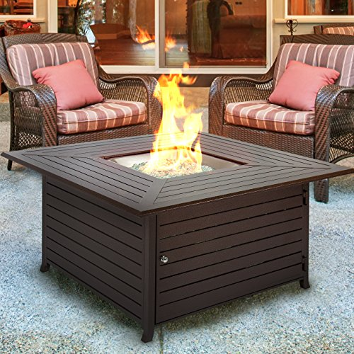 Outland Fire Table, 35,000 BTU Propane Fire Pit Table, W/Black Tempered  Glass Tabletop U0026 Arctic Ice Glass Rocks