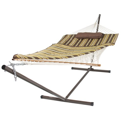 Best-Choice-Products-Cotton-Rope-Hammock-12-Feet-Steel-Stand-Combo-w-Stripe-Pad-and-Pillow-0