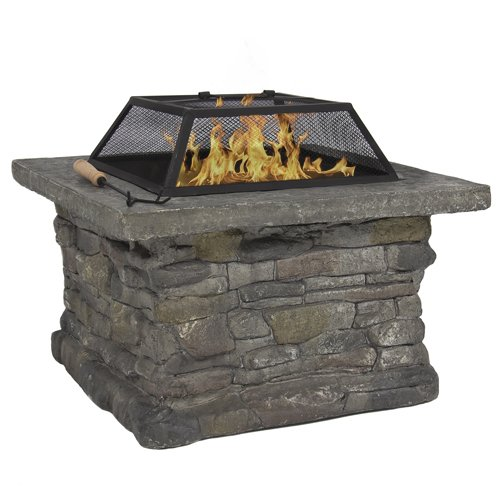 Best-Choice-Products-Elegant-29-Outdoor-Patio-Firepit-w-Iron-Fire-Bowl-Stone-Base-Mesh-Cover-0