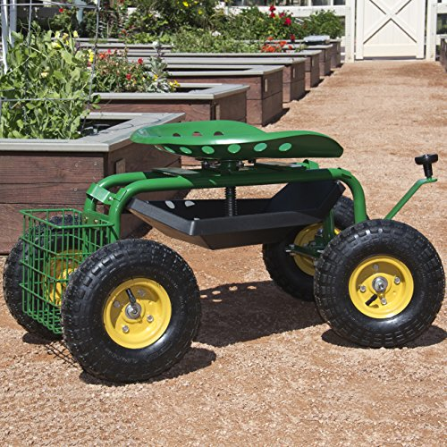 Best-Choice-Products-Garden-Cart-Rolling-Work-Seat-With-Tool-Tray-Heavy-Duty-Gardening-Planting-New-0-0