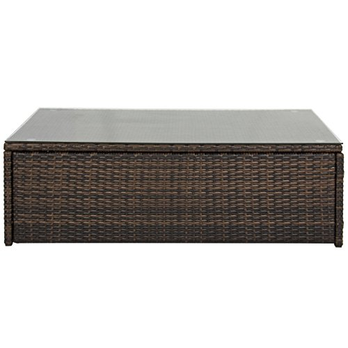 Best Choice Products Outdoor Wicker Glass Top Coffee Table