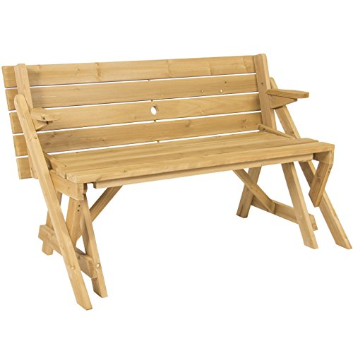 Best-Choice-Products-Patio-2-in-1-Outdoor-Interchangeable-Picnic-Table-Garden-Bench-Wood-0-0