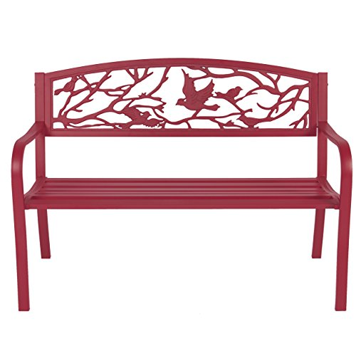 Best-Choice-Products-Steel-Patio-Garden-Park-Bench-Outdoor-Living-Patio-Furniture-Rose-Red-0-0