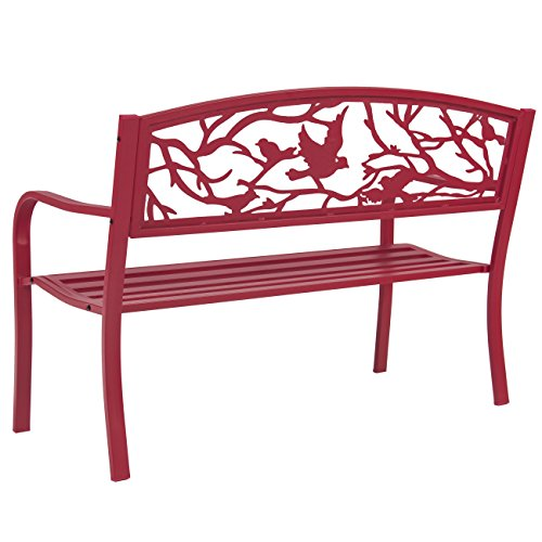 Best-Choice-Products-Steel-Patio-Garden-Park-Bench-Outdoor-Living-Patio-Furniture-Rose-Red-0-1