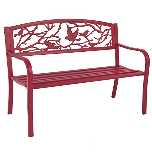 Best-Choice-Products-Steel-Patio-Garden-Park-Bench-Outdoor-Living-Patio-Furniture-Rose-Red-0