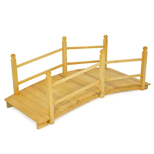 Best choice products wooden bridge 5 natural finish for Decorative fish pond bridge