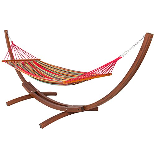 Best-ChoiceProducts-Wooden-Curved-Arc-Hammock-Stand-with-Cotton-Hammock-Outdoor-Garden-Patio-0