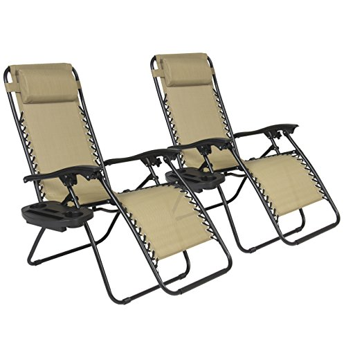 Best-ChoiceProducts-Zero-Gravity-Chairs-Tan-Lounge-Patio-Chairs-Outdoor-Yard-Beach-New-Set-of-2-0