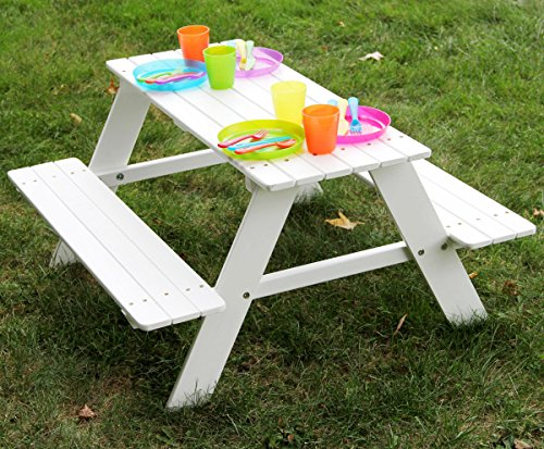 Bigger-Kids-Picnic-Table-Solid-Wood-White-36-X-35-Inches-Indoor-or-Outdoor-0
