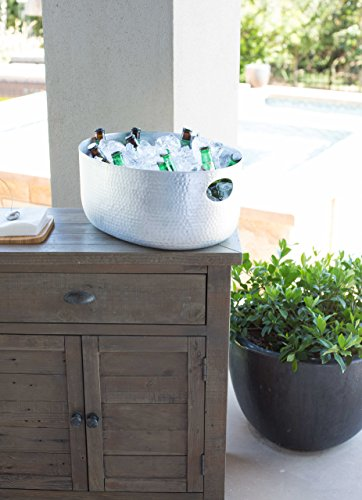 BirdRock-Home-Hammered-Stainless-Steel-Beverage-Tub-Oval-Party-Drink-Cooler-Holder-Cutout-Handles-Outdoor-or-Indoor-Use-0-1