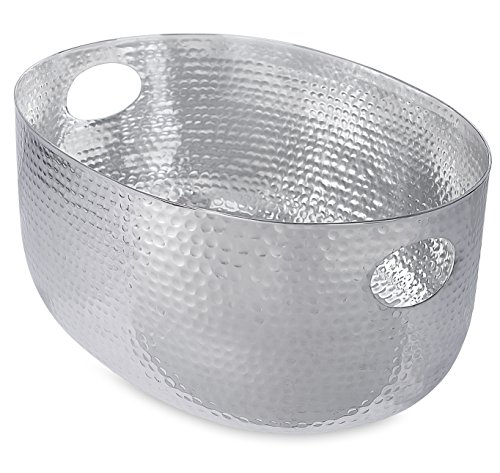 BirdRock-Home-Hammered-Stainless-Steel-Beverage-Tub-Oval-Party-Drink-Cooler-Holder-Cutout-Handles-Outdoor-or-Indoor-Use-0