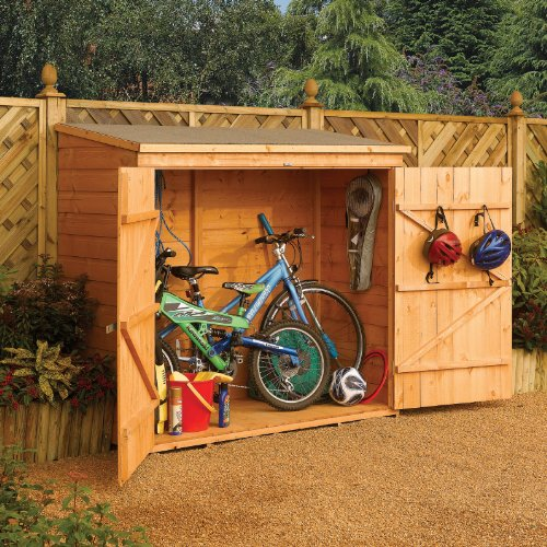 Bosmere-WS1881H-Rowlinson-Wallstore-Wooden-OutdoorGarden-Lockable-Storage-Unit-with-Double-Doors-Honey-Brown-Finish-0-0
