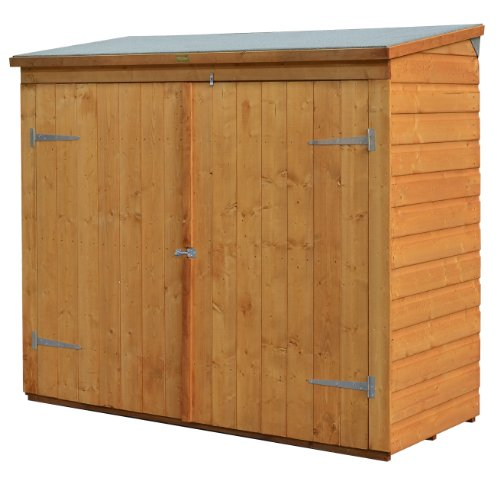Bosmere-WS1881H-Rowlinson-Wallstore-Wooden-OutdoorGarden-Lockable-Storage-Unit-with-Double-Doors-Honey-Brown-Finish-0