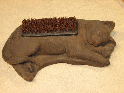 CAT-Boot-Brush-KITTEN-17-GRAY-CEMENT-Outdoor-Garden-Shoe-Scraper-0