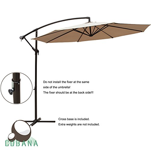 COBANA 10 Ft Patio Umbrella Offset Hanging Umbrella