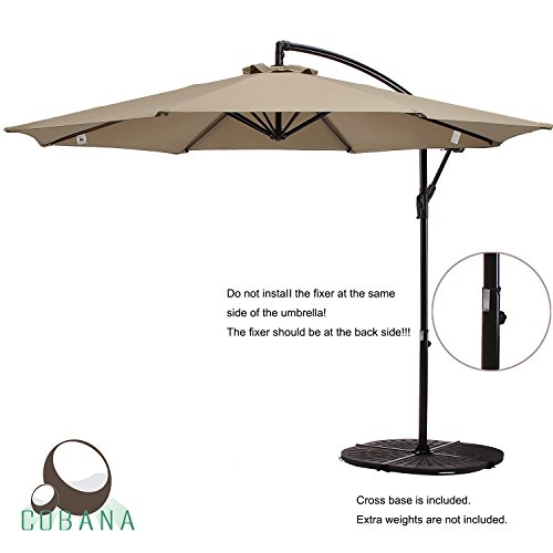 COBANA Patio Umbrella Offset 10 Ft Aluminum Pole Hanging Umbrella With 8  Steel Ribs, 100% Ployester $70.00 (as Of July 10, 2018, 6:14 Am)