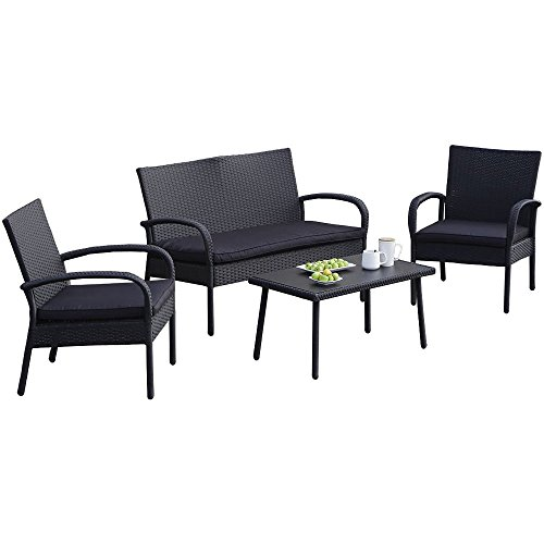 Carlota-Furniture-Patio-Furniture-Set-ideal-for-Outdoor-4-Piece-Modern-Look-Made-of-Black-Wicker-Rattan-with-Black-Detachable-Cushions-Seats-by-Carlota-Furniture-0