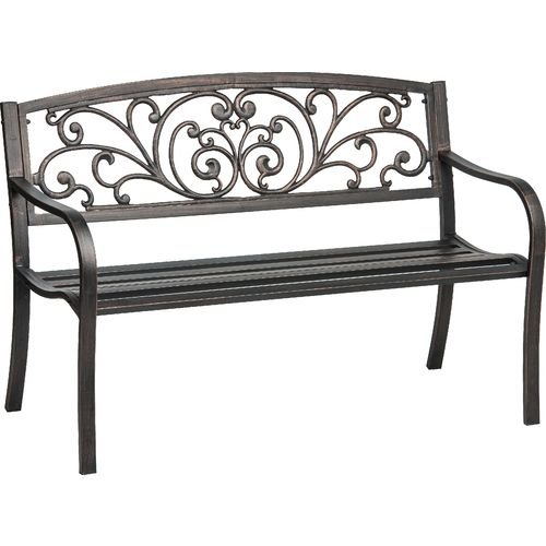 Cast-Iron-Powder-Coated-Outdoor-Patio-Bench-Ivy-Design-Backrest-0