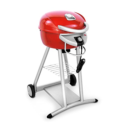 The Char-Broil TRU-Infrared Patio Bistro Electric Grill can be moved wherever you need it, thanks to its wheeled frame. A lower wire shelf gives you a .