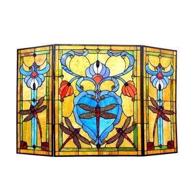 Chloe-Lighting-Dragonfly-3-Panel-Glass-Fireplace-Screen-0