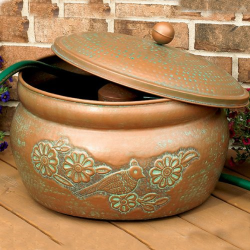 CobraCo-Bird-Motif-Copper-Finish-Hose-Holder-with-Lid-HHEBR-0-0