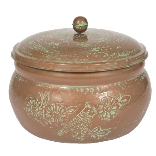 CobraCo-Bird-Motif-Copper-Finish-Hose-Holder-with-Lid-HHEBR-0