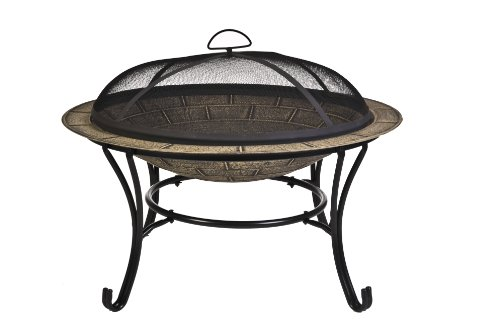 CobraCo-FB6102-Round-Cast-Iron-Brick-Finish-Fire-Pit-with-Screen-and-Cover-0