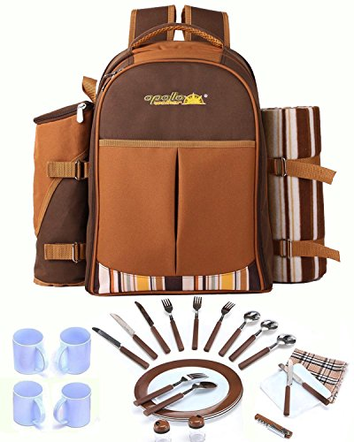 Cwhcoltd-Picnic-Backpack-Bag-for-4-Person-With-Cooler-Compartment-Detachable-BottleWine-Holder-Fleece-Blanket-Plates-and-Cutlery-Set-Perfect-for-Outdoor-Sports-Hiking-Camping-BBQsD-Coffee-0