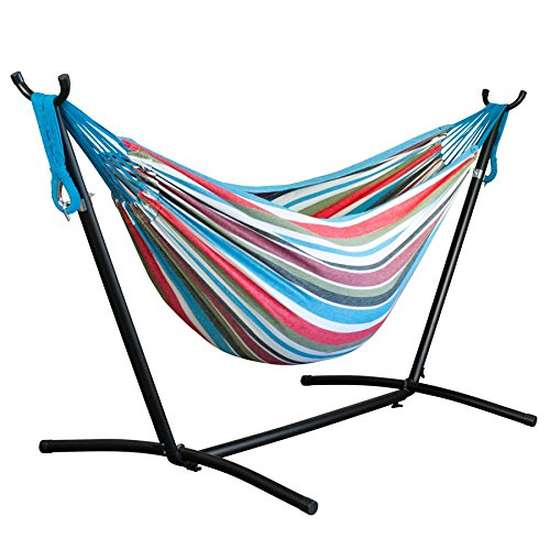 Driftsun-Space-Saving-Patio-and-Lawn-Portable-Hammock-with-Steel-Stand-2-Person-450-Pound-Capacity-Camping-Hammock-0