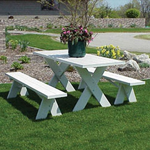 Dura-Trel-6-ft-Traditional-White-Picnic-Table-With-Benches-0