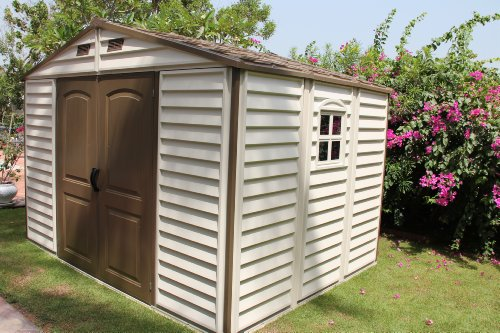 Duramax-30211-Woodside-Vinyl-Shed-with-Foundation-105-by-8-Feet-0-1
