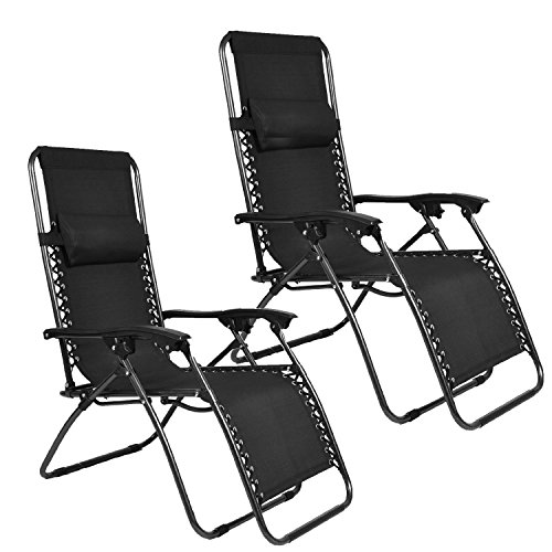 EMMETTS-Ourdoor-Black-Zero-Gravity-Lounge-Chair-with-Pillow-and-Cup-Holder-0