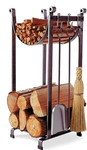 Enclume-Sling-Log-Rack-with-Fireplace-Tools-Hammered-Steel-0