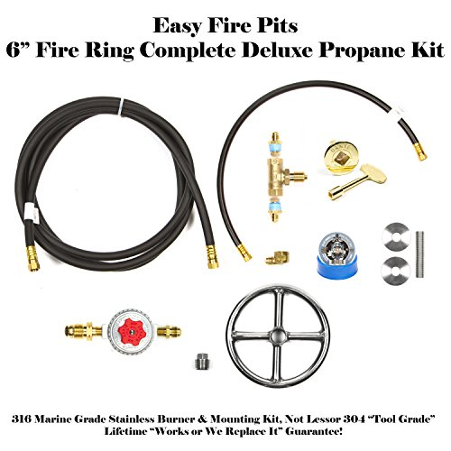 FR6CK-Complete-6-DELUXE-Fire-Pit-Kit-316-Stainless-Convert-Existing-Wood-Fire-Pit-to-Propane-Lifetime-Burners-all-316-Stainless-not-Lessor-304-See-EasyFirePitscom-Gallery-0
