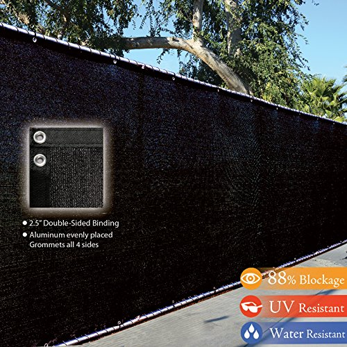 Fence4ever-8-x-50-3rd-Gen-Black-Fence-Privacy-Screen-Windscreen-Shade-Fabric-Mesh-Tarp-Aluminum-Grommets-0