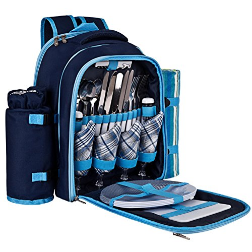 Ferlin-Picnic-Backpack-for-4-With-Cooler-Compartment-Detachable-BottleWine-Holder-Fleece-Blanket-Plates-and-Cutlery-Set-0-0