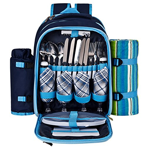 Ferlin-Picnic-Backpack-for-4-With-Cooler-Compartment-Detachable-BottleWine-Holder-Fleece-Blanket-Plates-and-Cutlery-Set-0-1