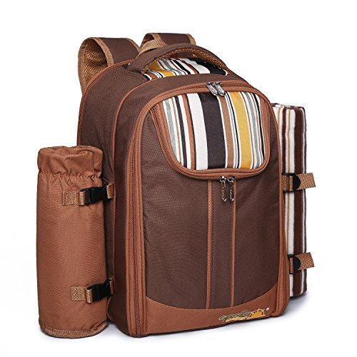 Ferlin-Picnic-Backpack-for-4-With-Cooler-Compartment-Detachable-BottleWine-Holder-Fleece-Blanket-Plates-and-Cutlery-Set-0