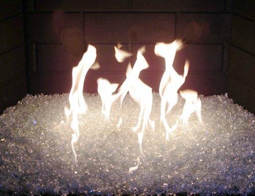 Fireplace Fire Pit Glass Rocks Chunky 3 8 Clear With Slight Aqua Tint 60