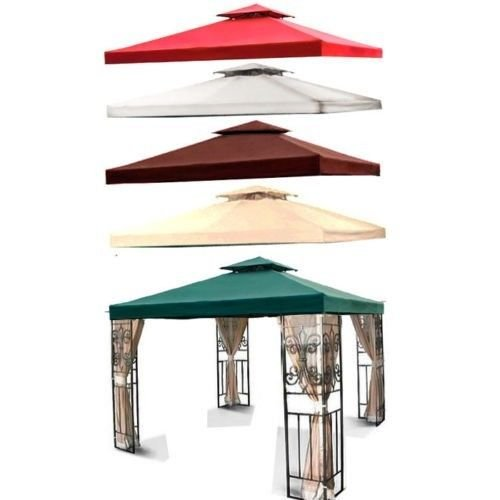 Flexzion-10x10-Gazebo-Top-Canopy-Replacement-Cover-Dual-Tier-with-Plain-Edge-Polyester-UV30-Protection-Waterproof-for-Outdoor-Garden-Patio-Lawn-Sun-Shade-0