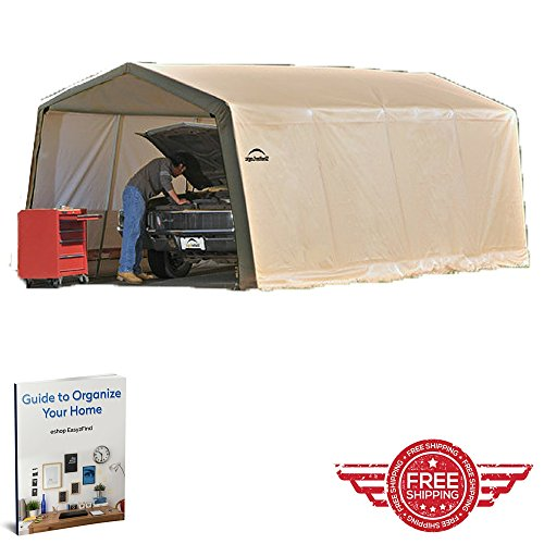 Garage-Metal-Frame-Car-CaveEnclosured-Durable-CoatingModular-Relocatable-SkeletonAll-Weather-Resistant-Polyethylene-Closing-Door-Protective-Cage-and-Ebook-By-Easy-2-Find-0