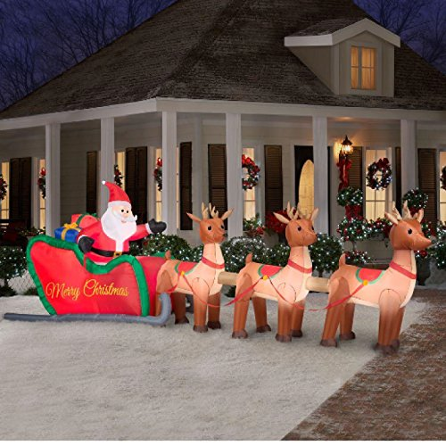 Giant 16 Ft Inflatable Lighted Santa In Sleigh With